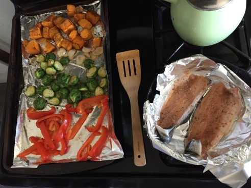 Roasted squash, brussels, bell pepper and garlic.  Baked trout for protein.
