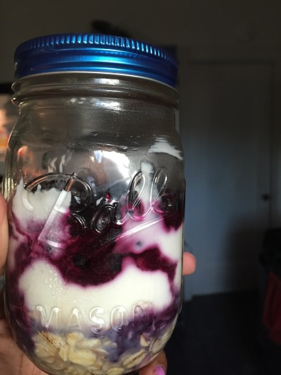 Overnight oatmeal in a mason jar, because they're cute!